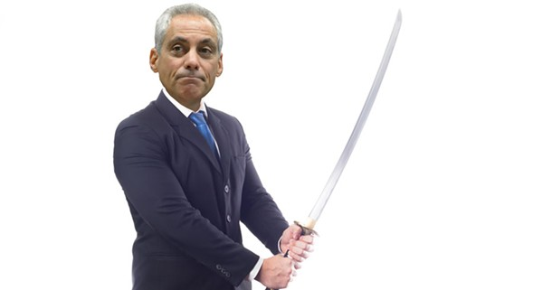 Rahm Emanuel was invited to take a swing at the Bean on Tue 5/31—we'll see if he shows up. - SUNSHINE TUCKER ILLUSTRATION (GETTY IMAGES/ISTOCKPHOTO AND SUN-TIMES MEDIA)