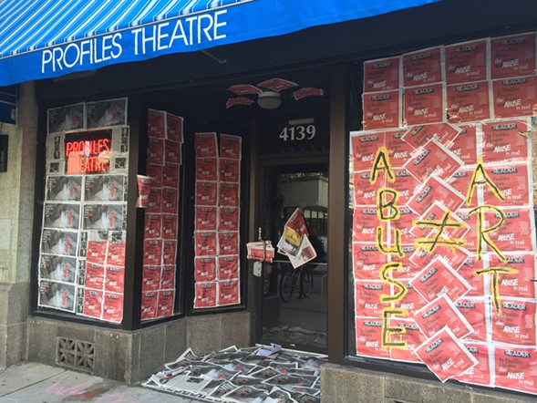 Actors plastered Profiles Theatre with copies of the Reader following the June 9 story. - EILEEN TULL