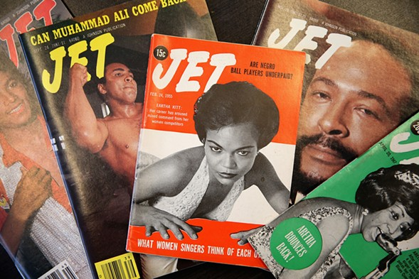 Vintage copies of JET magazine are displayed in the offices of Johnson Publishing Company on June 9, 2014 in Chicago, Illinois. - SCOTT OLSON/GETTY IMAGES