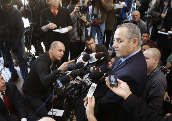 Dean Angelo, president of Fraternal Order of Police Lodge 7, talks to reporters after a November 2015 bond hearing for officer Jason Van Dyke. - AP PHOTO/CHARLES REX ARBOGAST