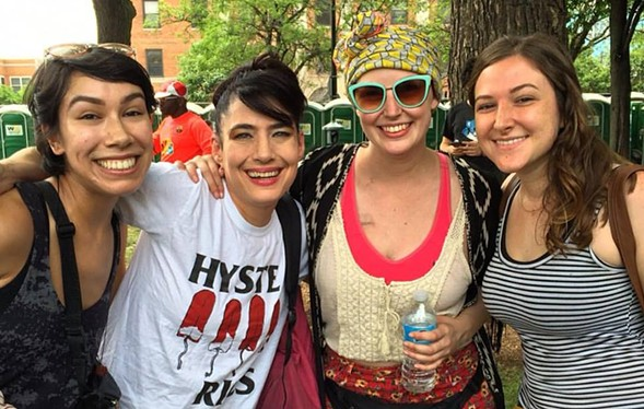 That's me in the sunglasses, with two friends and Kathleen Hanna at Pitchfork last year. Moments later I turned into a emotional puddle. - COURTESY BRIANNA WELLEN
