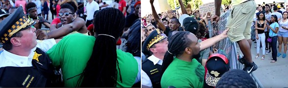 Monica Trinidad's accusations stemmed in part from discrepancies between a Tribune photo tweeted by Peter Nickeas, left, and video of the same Taste of Chicago protest obtained by the Reader, right. - TRIBUNE/CHARLES T. FOGARTY