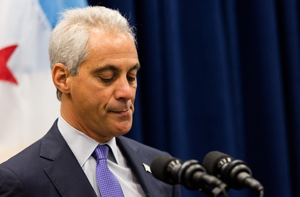 Mayor Rahm Emanuel at a press conference Tuesday - LOU FOGLIA/SUN-TIMES