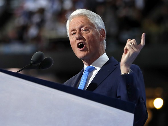 Former president Bill Clinton during his Democratic National Convention speech Tuesday night. - AP PHOTO/CAROLYN KASTER, FILE