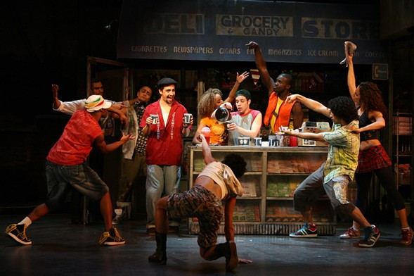 Lin-Manuel Miranda, fourth from left, and the cast of the 2007 off-Broadway production of In the Heights - AP PHOTO/BARLOW-HARTMAN, JOAN MARCUS