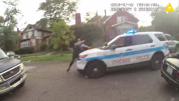 Video released Friday shows a Chicago police officer firing at a car driven by 18-year-old Paul O'Neal. O'Neal later died from his wounds. - CHICAGO POLICE DEPARTMENT