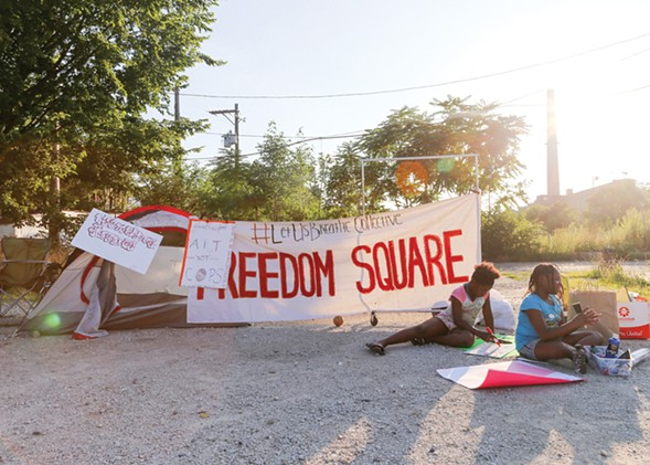 As of publication, activists have camped outside Homan Square for 19 days. - SUNSHINE TUCKER