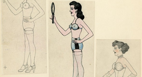 """This triptych of a man cross-dressing is one of the pieces of personal homemade erotica featured in """"Private Eyes: Selected Artwork From the Kinsey Institute Collection."""" - COURTESY OF THE KINSEY INSTITUTE FOR RESEARCH IN SEX, GENDER, AND REPRODUCTION"""