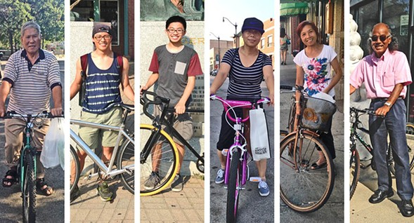 From left: Xing Hua Wu transports groceries to his sister's house; Henry Guan and Daniel Lau in the plaza of Chinatown Square; Tang Hou shops by bike on Wentworth; so does Bao Ju Huang; Kevin Kwong also uses a bike to get around. - JOHN GREENFIELD