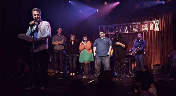 A host of Mortified alum gather to celebrate ten years of the shame-inducing live-lit series on Sat 8/20. - COURTESY OF MORTIFIED