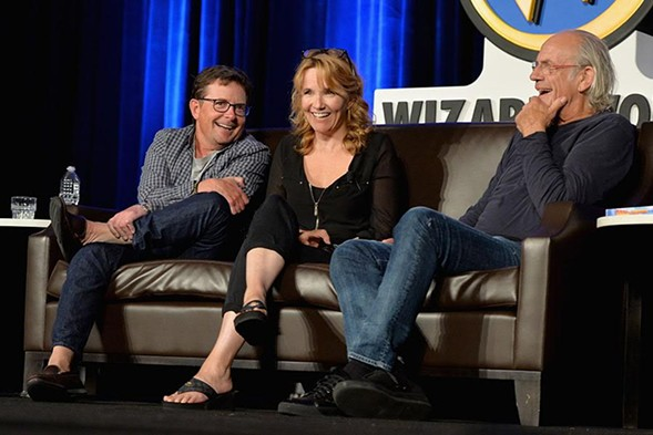Michael J. Fox, Lea Thompson, and Christopher Lloyd at the Back to the Future reunion at Wizard World. - DANIEL BOCZARSKI/GETTY