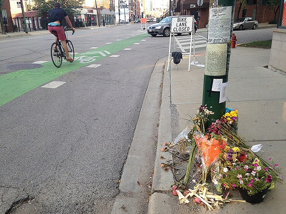 The memorial to Lisa Kuivinen at the crash site at Milwaukee and Racine. - JOHN GREENFIELD
