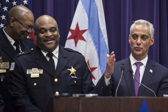 Mayor Rahm Emanuel, right, and Chicago Police Department superintendent Eddie Johnson - ASHLEE REZIN/SUN-TIMES