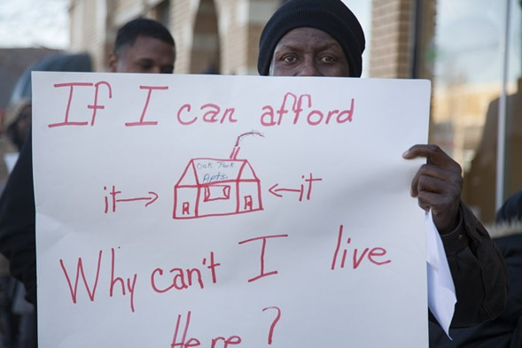 A 2012 protest against Oak Park Apartments, which refused to rent to voucher holders - STACIE SCOTT/SUN-TIMES MEDIA