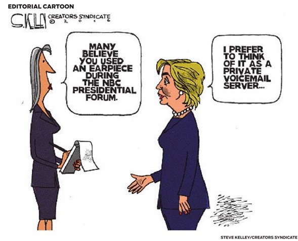 Syndicated cartoonist Steve Kelly delivers a low blow in his latest piece on Hillary Clinton.