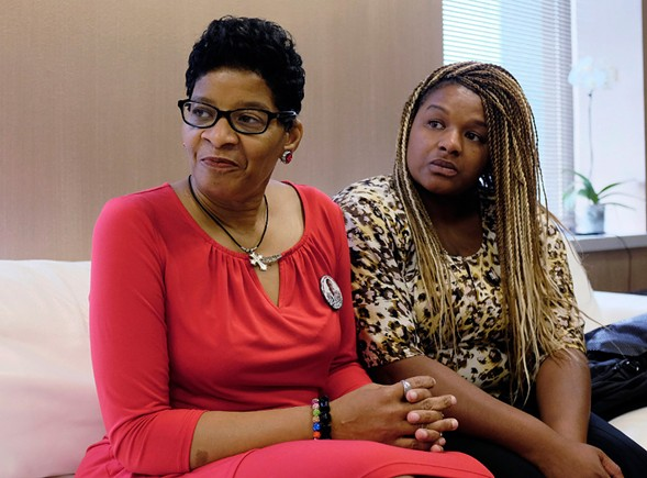 Geneva Reed-Veal, left, mother of Sandra Bland, waits with her daughter Shavon Bland in the family's attorney's office Thursday in Chicago. - AP PHORO/KIICHIRO SATO