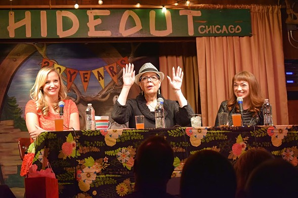 Host Erika Wozniak, CTU president Karen Lewis, and cohost DNAinfo senior editor Jen Sabella at last night's the Girl Talk show at the Hideout - LINZE RICE/THE GIRL TALK