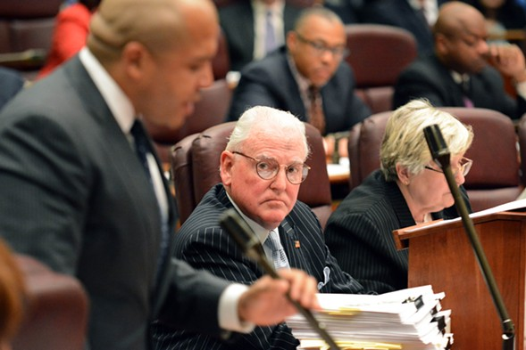 At a City Council Finance Committee meeting last Friday, Alderman Ed Burke, the committee chairman, read aloud from the Reader's investigation into CPD's civil forfeiture program. - BRIAN JACKSON/SUN-TIMES MEDIA