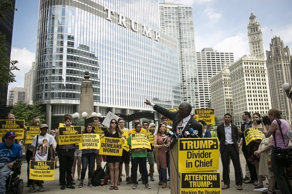 Activists gathered near the Trump Tower in July to protest GOP presidential nominee Donald Trump. - ASHLEE REZIN, SUN-TIMES