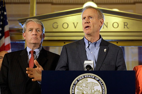 Jim Durkin, left, with Governor Bruce Rauner - SETH PERLMAN/AP