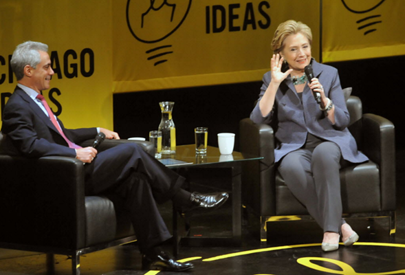 Mayor Rahm Emanuel and Democratic presidential nominee Hillary Clinton at Chicago Ideas Week in 2014 - AL PODGORSKI/SUN-TIMES