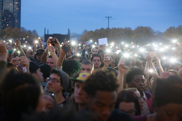 The crowd in Grant Park at dusk - DANIELLE A. SCRUGGS