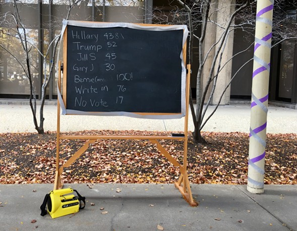 The chalkboard tally of symbolic votes was updated throughout the afternoon. - JACK LADD