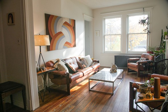 """The living room of the house that owner Claire Tibbs has dubbed """"the Beach House"""" - KERRI PANG"""