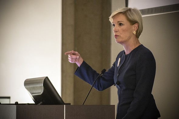 Cecile Richards gives her talk at the University of Chicago Law School. - COURTESY OF THE UNIVERSITY OF CHICAGO LAW SCHOOL