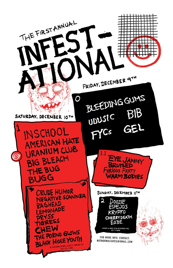 A carefully edited flyer for the Infestational - COURTESY NOT NORMAL TAPES
