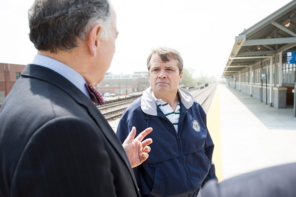 Congressman Mike Quigley (right) speaks with Metra board chairman Martin Oberman in 2015. - JAMES FOSTER FOR THE SUN-TIMES