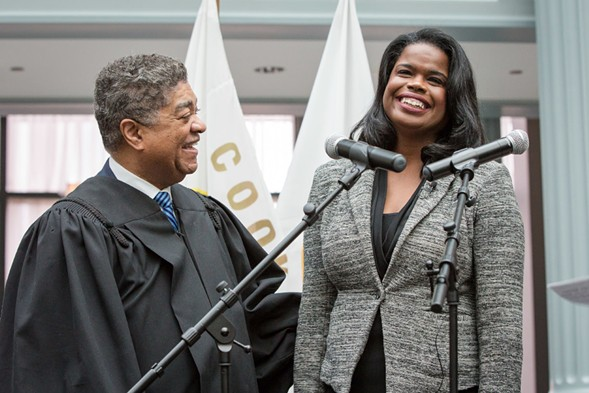 Chief judge Timothy Evans swears in Kim Foxx as Cook County's first African-American female state's attorney. - SANTIAGO COVARRUBIAS/SUN-TIMES