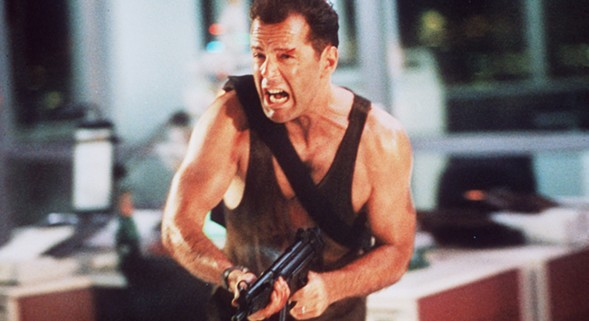 """Comics """"Yippee-ki-yay, motherfucker!"""" along with John McClane at Down In Front: Die Hard."""