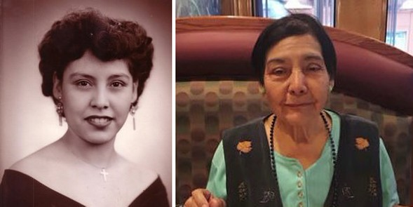 Eighty-four-year-old Telesfora Escamilla, pictured right in a recent photo and left as a young woman, was killed by a van driver who struck her in the crosswalk. - COURTESY OF THE ESCAMILLA FAMILY