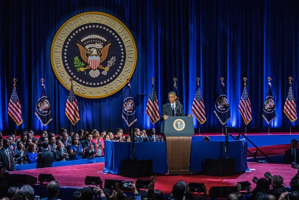 President Obama making his farewell speech Tuesday night at McCormick Place - JOSHUA MELLIN