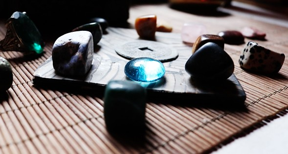 "Polished stones and other objects in the ""Zen room"" - MORGAN JOHNSON"