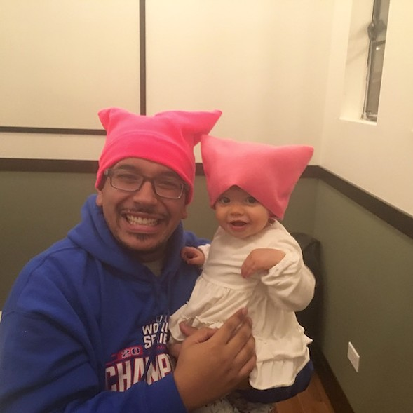 Dion and Arwen Morales show off their pussyhats - AIMEE LEVITT