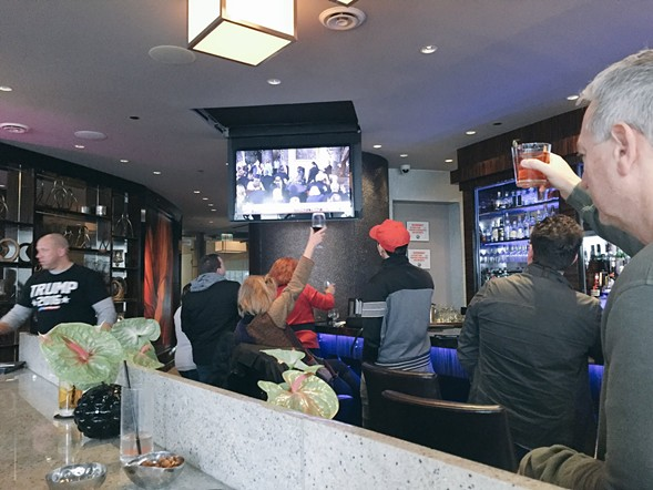 Revelers at Trump Tower's Rebar toasted the new president on inauguration day. This is one of the photos the author took before security swooped in. - RYAN SMITH