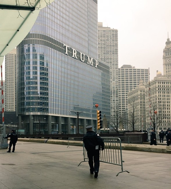 Chicago police began to fence off Trump Tower hours before a planned protest on inauguration day. - RYAN SMITH