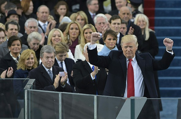 Trump triumphant on the steps of the Capitol - GETTY