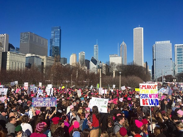 The crowd in Grant Park - THE NICE WOMAN STANDING ON A PILLAR WHOSE NAME I DIDN'T CATCH