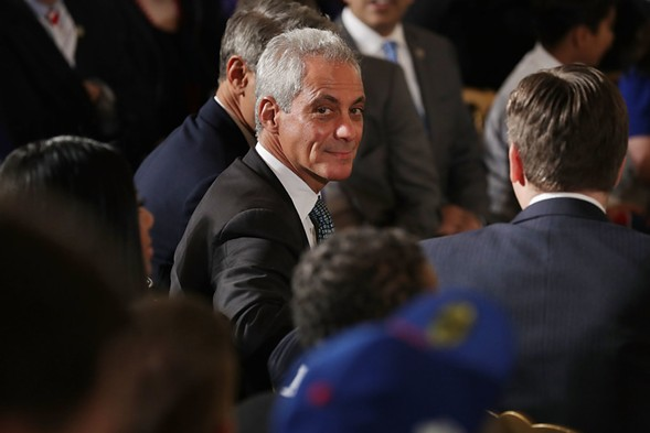 Chicago Mayor Rahm Emanuel attending a celebration of the Chicago Cubs at the White House before President Obama left office. - PHOTO BY CHIP SOMODEVILLA/GETTY IMAGES