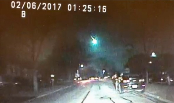 Dashcam video of the meteor courtesy of the Lisle Police Department - AP PHOTO