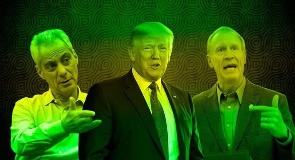 Rahm Emanuel, Donald Trump, and Bruce Rauner - PHOTO ILLUSTRATION BY PAUL JOHN HIGGINS