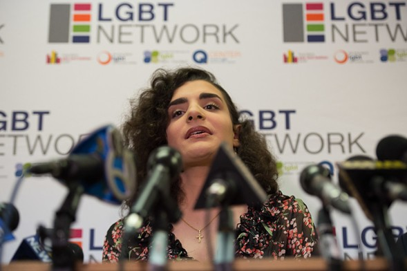 Madeline Bruni, an 18-year-old transgender woman, speaks out against President Donald Trump's rollback of protections for transgender students. - BRYAN R. SMITH/AFP/GETTY IMAGES