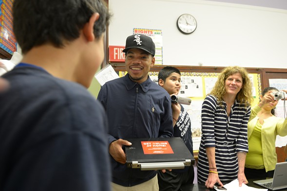 Chance the Rapper meets with students from west-side Scammon Elementary School in May 2015. - BRIAN JACKSON/FOR THE SUN-TIMES