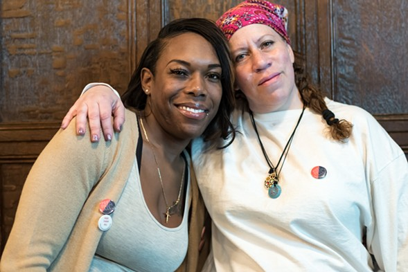 Eisha Love and Monica Cosby, formerly incarcerated survivors of  gender-based violence, spoke at activist Mariame Kaba's talk at DePaul Thursday night. - SARAH-JI/LOVE AND STRUGGLE PHOTOS