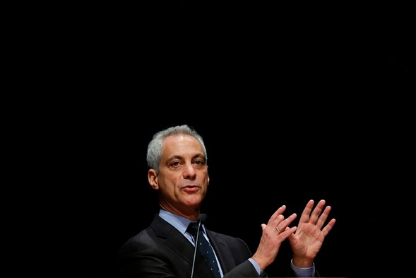 Mayor Rahm Emanuel speaks during the graduation ceremony for new police officers March 15. - AFP PHOTO/AFP/GETTY IMAGES