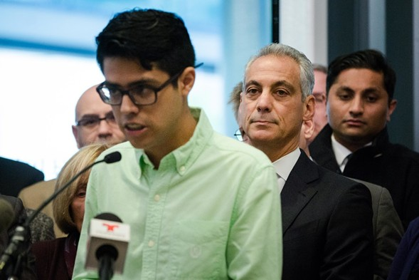 Undocumented immigrant Luis Gomez speaks at a press conference to support immigrants and sanctuary cities at Lurie Children's Hospital in November 2016. - SANTIAGO COVARRUBIAS/SUN-TIMES
