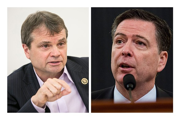 Illinois congressman Mike Quigley, left, questioned FBI director James Comey, right, during House Intelligence Committee hearings March 21. - ASHLEE REZIN/SUN-TIMES; ZACH GIBSON/GETTY IMAGES